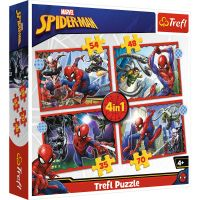 Puzzle 4 in 1, Trefl, Eroul Spiderman (35, 48, 54 si 70 piese)