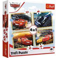 Puzzle 4 in 1, Trefl, Pe locuri, fiti gata, start, Disney Cars 3 (35, 48, 54 si 70 piese)