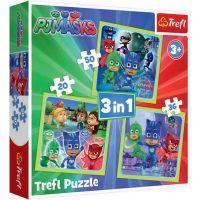TF34840_001w Puzzle 3 in 1 Trefl, Pj Masks, Gata de actiune (20, 36, 50 piese)
