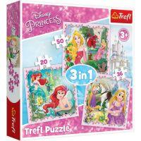 TF34842_001w Puzzle 3 in 1 Trefl, Disney Princess, Rapunzel, Aurora si Ariel (20, 36, 50 piese)