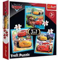 TF34848_001w Puzzle 3 in 1 Trefl, Disney Cars, Pregatirea cursei (20, 36, 50 piese)