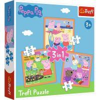 Puzzle 3 in 1, Trefl, Peppa cea inventiva (20, 36 si 50 piese)