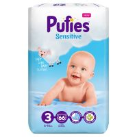 3800024035524_001w Scutece Pufies Sensitive Nr 3, 6 - 10 Kg, 66 buc