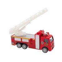 38371 Masina de Pompieri cu scara Globo Pull Back Die Cast, 155, Rosu