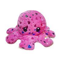 6055_005w Jucarie de plus cu doua fete Octopus Flip Flop, Caracatita, Roz-Inimioare, 20 cm