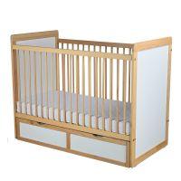 732854803789 PL06_001 Patut din lemn, pentru copii, Primii Pasi, 120 x 60 cm, cu sertar