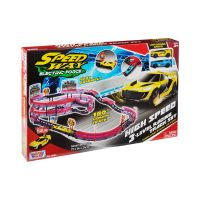 78284_001w Set de joaca cu 2 masinute High Speed 3 Level Racing Track Motormax