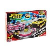 78284_001w Set de joaca cu 2 masinute High Speed 3 Level Racing Track Motormax