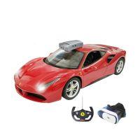 79800_001w Masina cu telecomanda si ochelari VR Ferrari 488 GTV Rastar, RC, 114, Rosu