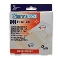 8017990140021 140021_001w Comprese sterile din bumbac, Pharmadoct First Aid, 10 Buc 30 x 30 cm (2)