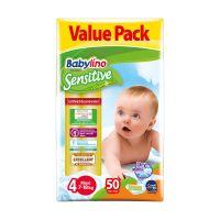 8258_001w Scutece Babylino Sensitive Economy, N4, 7-18kg, 50 Buc.