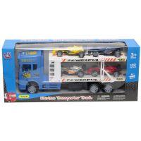 912187_001w Camion cu 4 masinute Unika Toy, Albastru