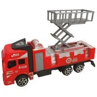 912291_001w Masinuta de pompieri Unika Toy, Rosu, 20 cm