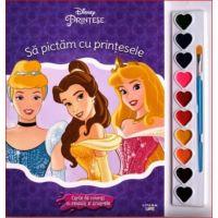 Sa pictam cu printesele carte de colorat cu pensule si acuarele, Disney Printese