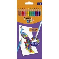 987868_001w Creioane colorate cu guma de sters Evolution Illusion Bic, 12 culori
