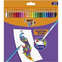987869_001w Creioane colorate cu guma de sters Evolution Illusion Bic, 24 culori