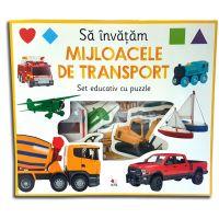 CARTDIV32_001w Carte Editura Litera, Sa invatam mijloacele de transport. Set educativ cu puzzle