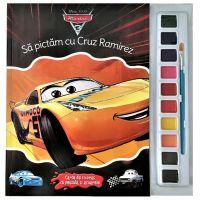 CDJ54_001w Carte Editura Litera, Disney Cars 3. Sa pictam cu Cruz Ramirez. Carte de colorat cu pensula si acuarele