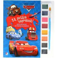 CDJ66_001w Carte Editura Litera, Sa pictam impreuna! Carte de colorat cu pensule si acuarele Disney Cars