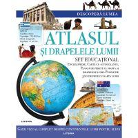 CEDIV106_001w Carte Editura Litera, Descopera Lumea, Atlasul si drapelele lumii