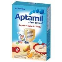 Cereale Aptamil Nutricia cu lapte si 5 fructe