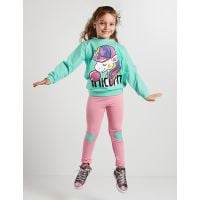 20204156 Set bluza sport si  colanti Bubble Unicorn Denokids