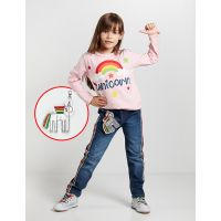 20204161 Set bluza si pantaloni jeans cu breloc Unicorn Denokids