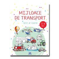 Mijloace de transport, carte de colorat, 3-4 ani
