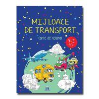 Mijloace de transport, carte de colorat, 4-5 ani