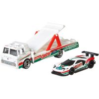 FLF56_002w Transportator cu masinuta Hot Wheels, 2016 Ford GT Race, Ford C-800, 164