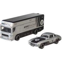 FLF56_003w Transportator cu masinuta Hot Wheels, Mercedes-Benz 300 SL, Euro Hauler, 164