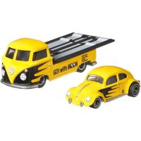 FLF56_004w Transportator cu masinuta Hot Wheels, Volkswagen Classic Bug, Volkswagen Transporter T1 Pickup, 164