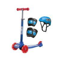 IGN-COM-GLI-BLU_001w Trotineta cu 3 roti si echipament de protectie Ignite, Albastru