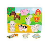 Jucarie bebelusi Noriel Bebe Wood - Puzzle cu animale de la ferma