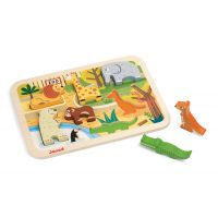 Puzzle din lemn Janod - 7 Animale de la Zoo