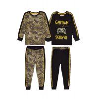 35110315 Set pijama cu maneca lunga si imprimeu Minoti, Kb Pyj, Army/Gamer