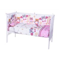 Lenjerie de pat copii Bebe Royal - Bufnita Roz, 5 piese, 120 x 60cm