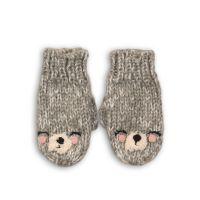 Manusi tricotate de culoare gri cu broderie trip caracter