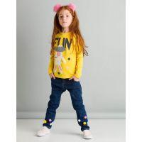 20204246 Set tricou cu maneca lunga si pantaloni jeans Fun Pompom Mushi