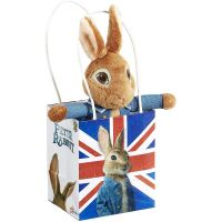 PO1604_001w Jucarie bebe de plus Peter Rabbit in Union Jack Bag, 18 cm
