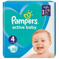 REDIS235_001w Scutece Pampers Active Baby, Nr 4, 9 - 14 Kg, 25 buc