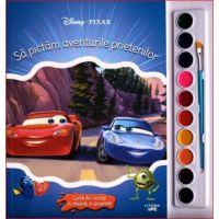 Sa pictam aventurile prietenilor carte de colorat cu pensule si acuarele, Disney Pixar