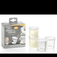 Set 4 recipiente de stocare pentru lapte matern Tommee Tippee - Close to Nature