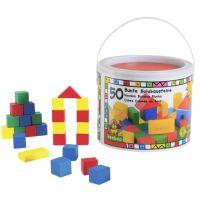 Beeboo - 50 Cuburi Colorate din Lemn