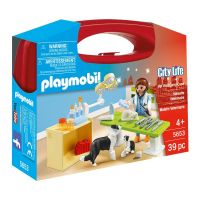 Set de constructie portabil Playmobil City Life - In vizita la veterinar (5653)