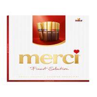 STKMERR250_001w Praline de ciocolata, 8 sortimente Merci, Rosu, 250 g