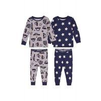 35110311 Set pijama cu maneca lunga si imprimeu Minoti, Tb Pyj, Cars/Stars