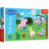 TF18245_001w Puzzle Trefl 30 piese, Expeditie in padure, Peppa Pig