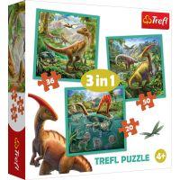 TF34837_001w Puzzle Trefl 3 in 1, Lumea extraordinara a dinozaurilor