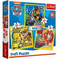 Puzzle Trefl 3 in 1, Marshall, Rubble si Chase, Paw Patrol
